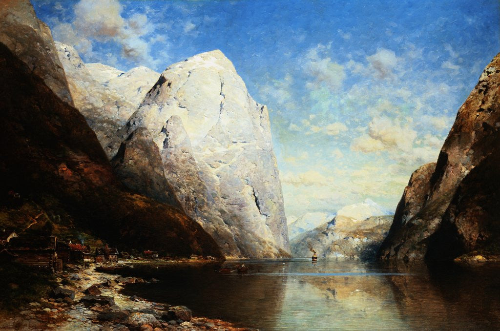 Detail of A Norwegian Fjord by Julius Rose