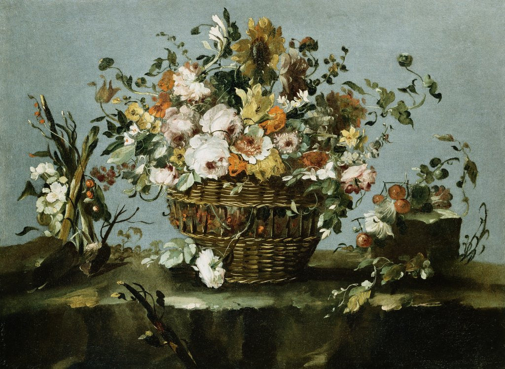 Detail of Flowers in a Basket and Flowers, a Sprig of Cherries Attributed to Francesco Guardi by Corbis