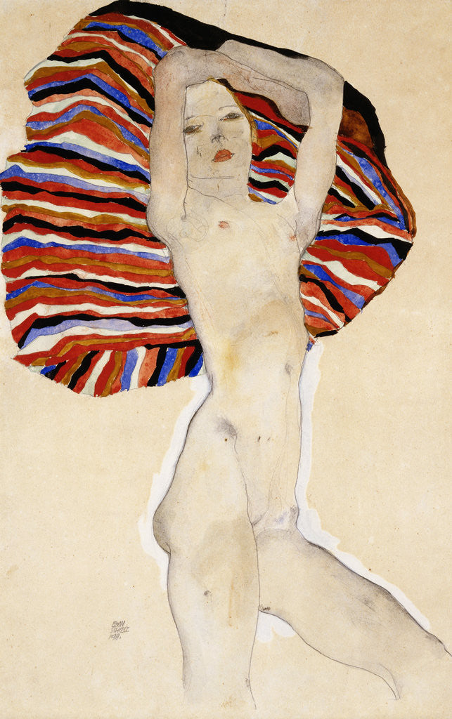 Detail of Act Against Colored Material by Egon Schiele