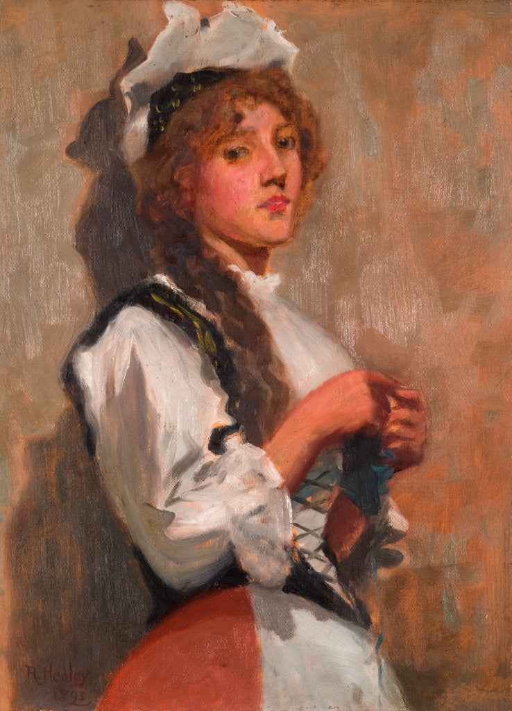 Detail of A Girl in Costume Knitting by Ralph Hedley