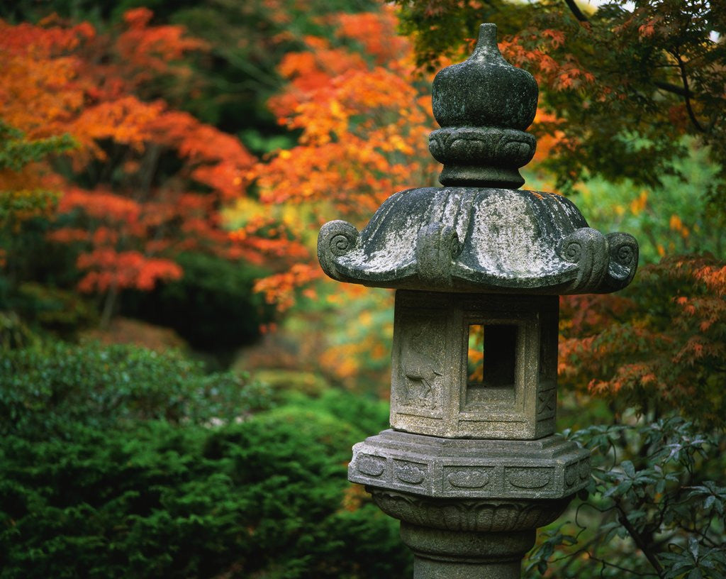 Detail of Stone Lantern in the Japanese Tea Garden at the University of Washington Arboretum by Corbis