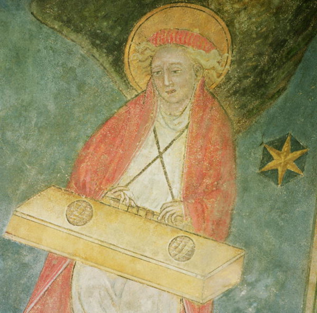 Detail of Angel playing a clavichord by French School