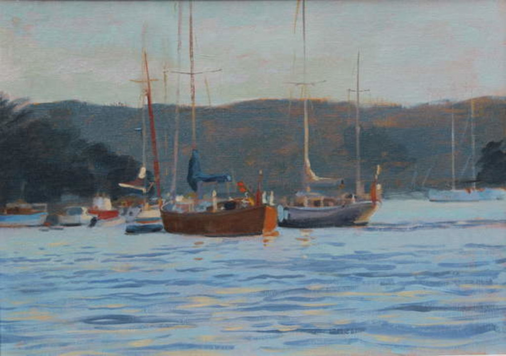 Detail of Evening yachts Salcombe, 2016 by Jennifer Wright