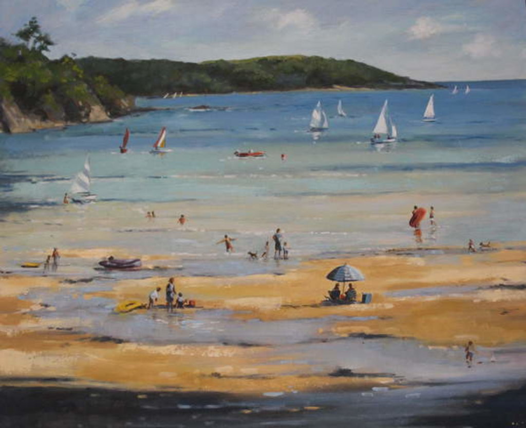 Detail of Salcombe North Sands, blue umbrella by Jennifer Wright