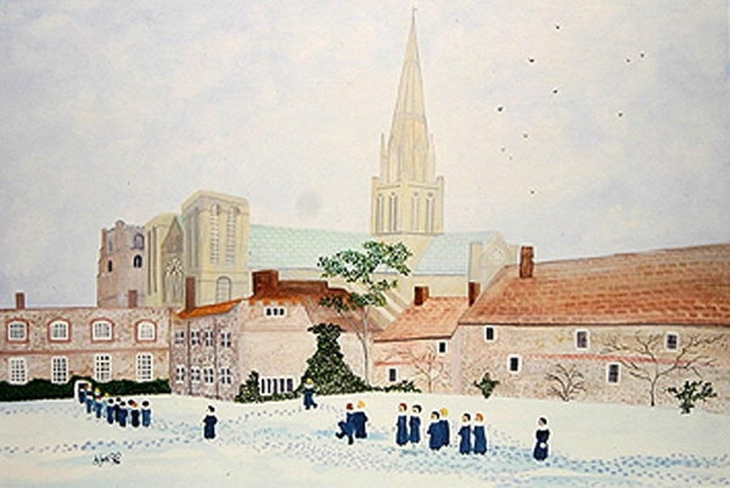Detail of Chichester Cathedral and Visiting Choir by Judy Joel