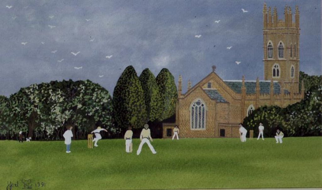 Detail of Cricket on Churchill Green by Judy Joel