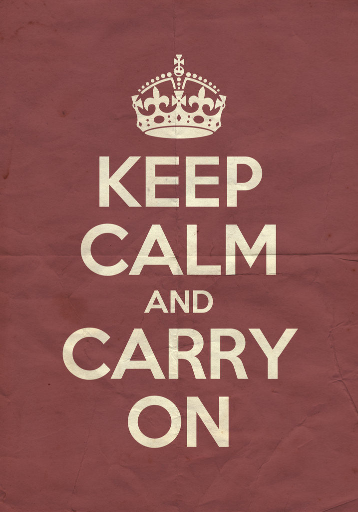 Detail of Keep Calm And Carry On Poster in Radicchio Vintage by Magnolia Box