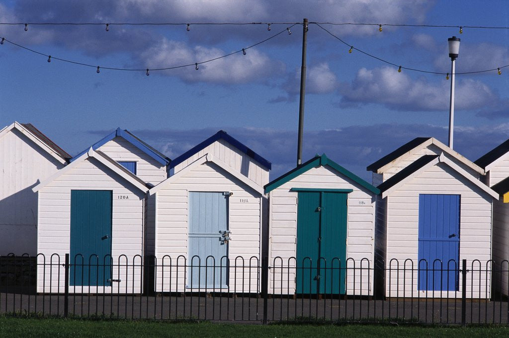 Detail of Beach Huts on Devon Town's Waterfront by Corbis