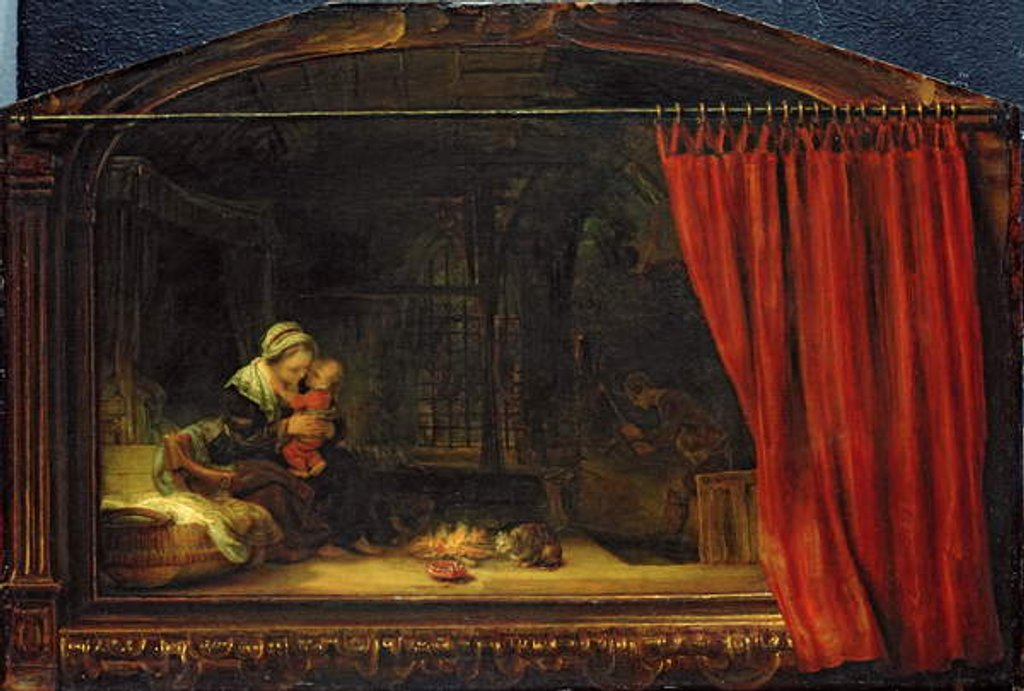 Detail of Holy Family with a Curtain, 1646 by Rembrandt Harmensz. van Rijn