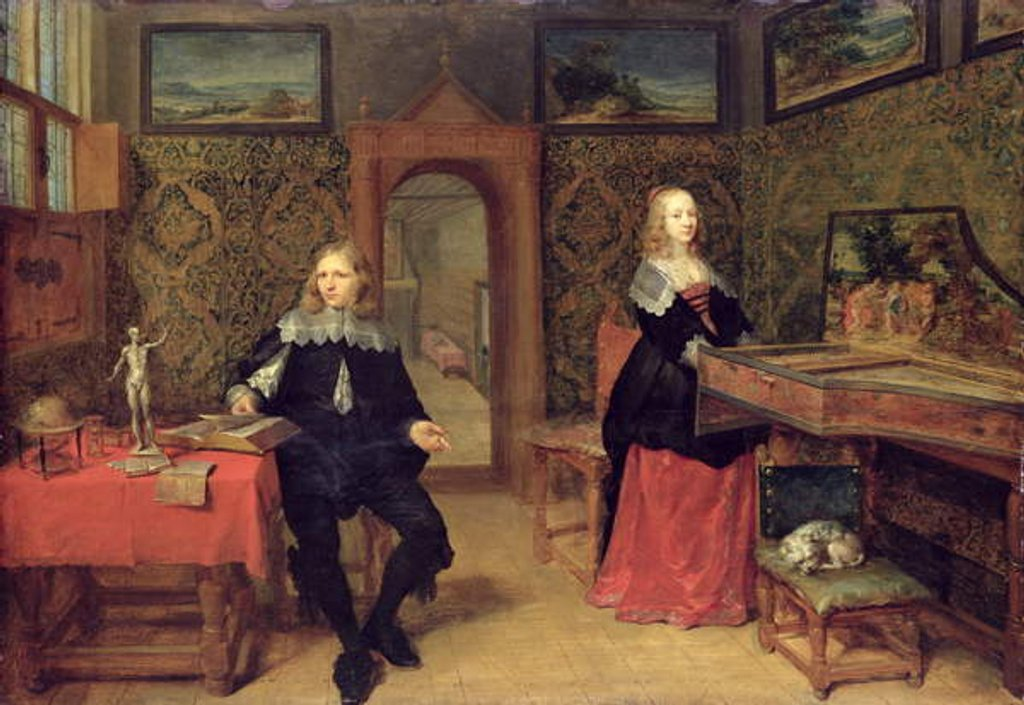 Detail of The Young Scholar and his Wife, 1640 by Gonzales Coques
