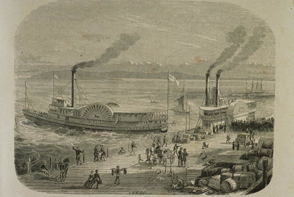 Detail of The San Francisco Docks in the 1860s by Gustave Adolphe Chassevent-Bacques