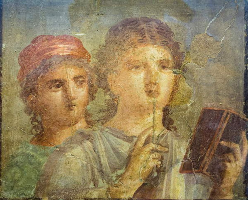Fresco of a girl reading by Roman
