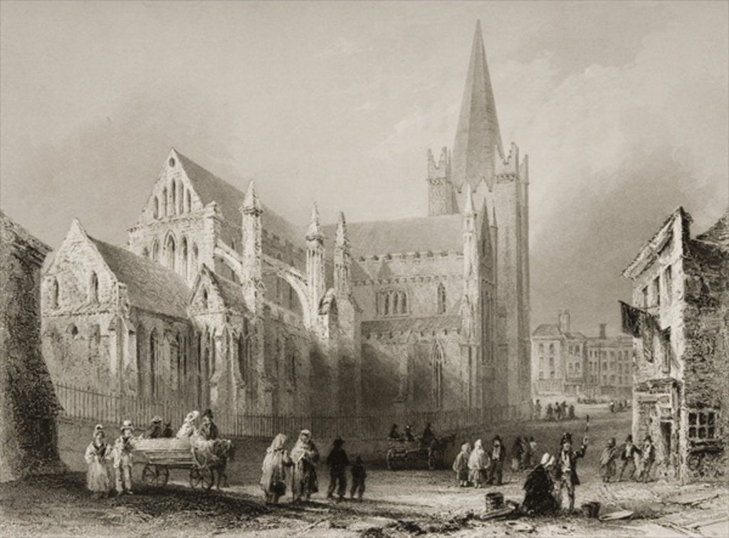 Detail of Exterior of St. Patrick's Cathedral, Dublin by William Henry Bartlett
