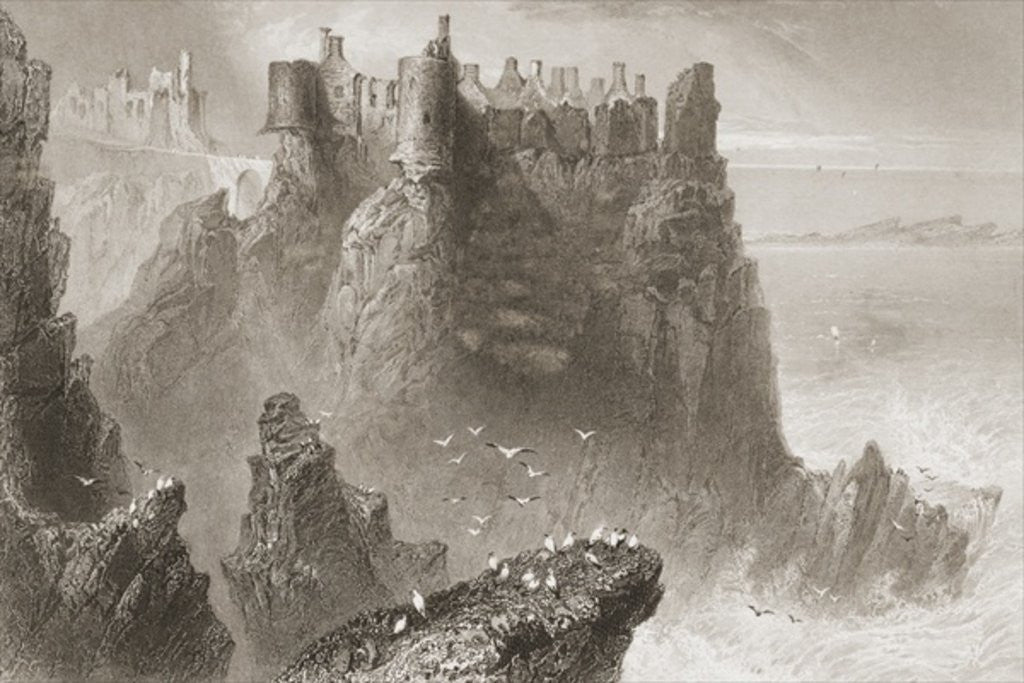 Detail of Dunluce Castle, County Antrim, Northern Ireland by William Henry Bartlett