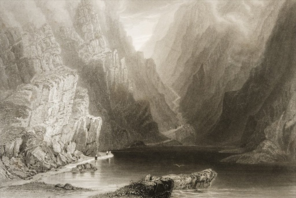 Detail of The Gap of Dunloe, County Killarney, Ireland by William Henry Bartlett