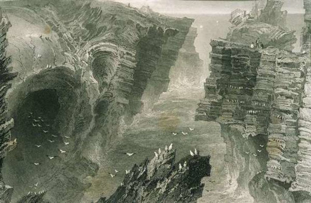 Detail of Puffin Hole at Kilkee, County Clare, Ireland by William Henry Bartlett