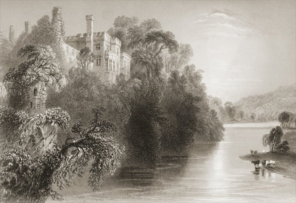 Detail of Lismore Castle, Lismore, County Waterford, Ireland by William Henry Bartlett