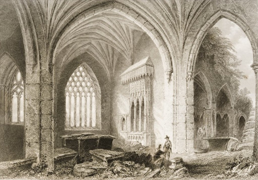 Detail of Interior of Holycross Abbey, County Tipperary, Ireland by William Henry Bartlett