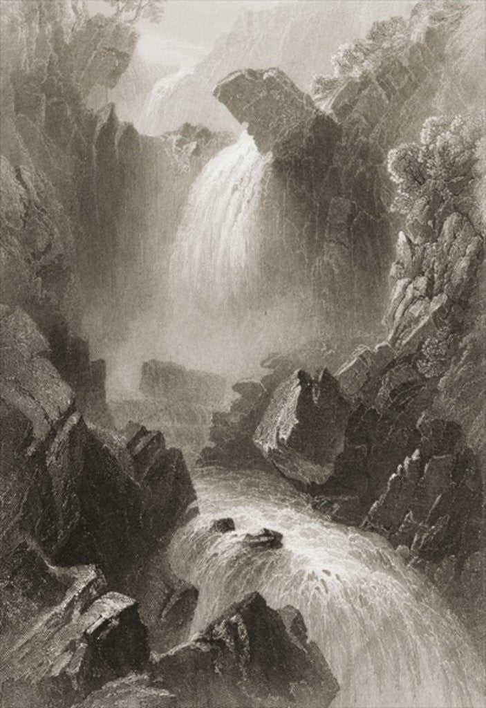 Detail of Head of the Devil's Glen, County Wicklow, Ireland by William Henry Bartlett