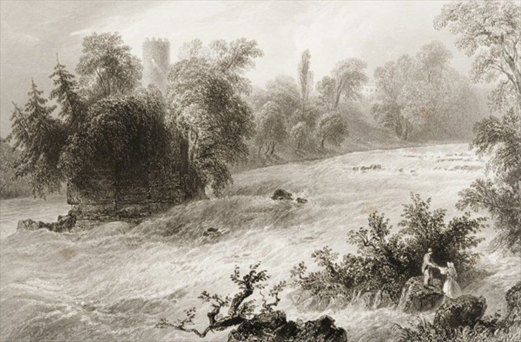 Detail of Castleconnell and Doonass Rapids, County Limerick, Ireland by William Henry Bartlett