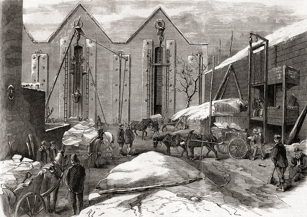 Detail of Carting the ice at Mr Charles' ice stores, Lindsey House, London by French School