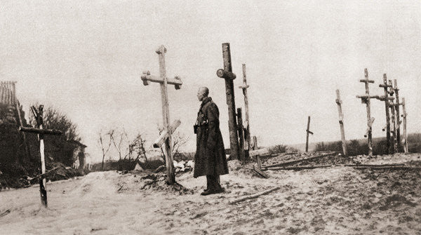 Detail of A Russian soldier at the grave of a comrade-in-arms during World War One by English Photographer