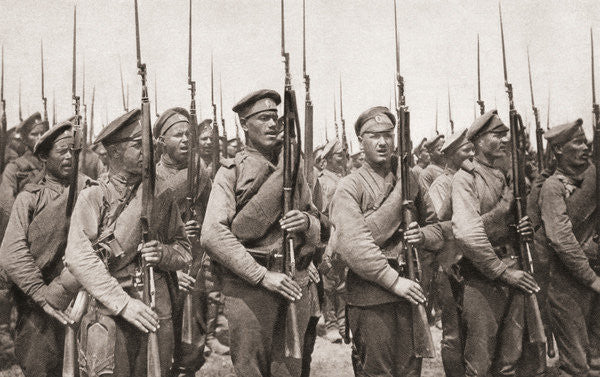Russian infantry on parade and presenting arms during World War One