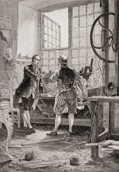 Detail of A carpenter and his client in an 18th century French carpenter's workshop by French School
