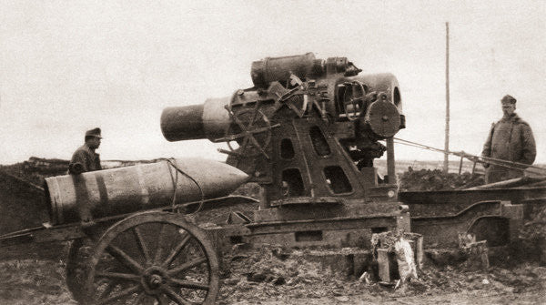 Detail of An Austrian giant siege-howitzer and its shell, used during World War One by English Photographer