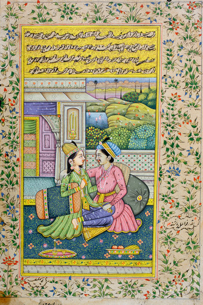 A man courts a woman in a luxurious setting, Rajasthani miniature painting