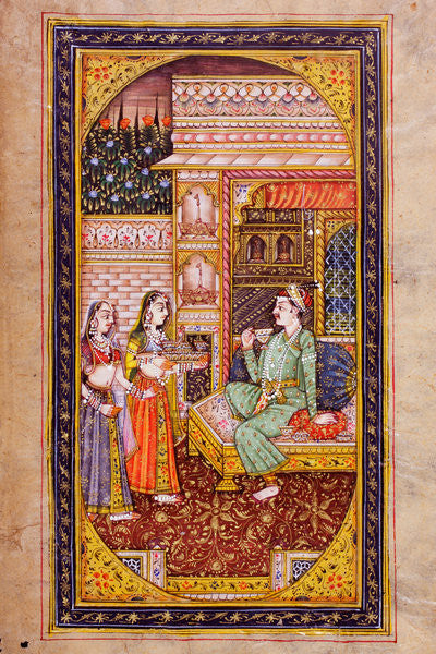 Two servant girls serve refreshment to a noble man in a richly decorated room, Rajasthani miniature painting