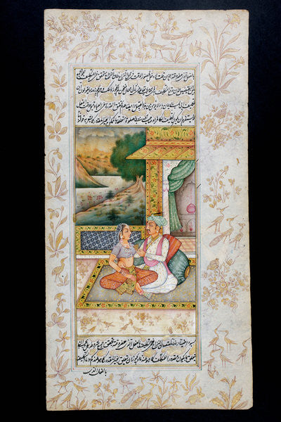 A man courts a woman in a boudoir scene, Rajasthani miniature painting