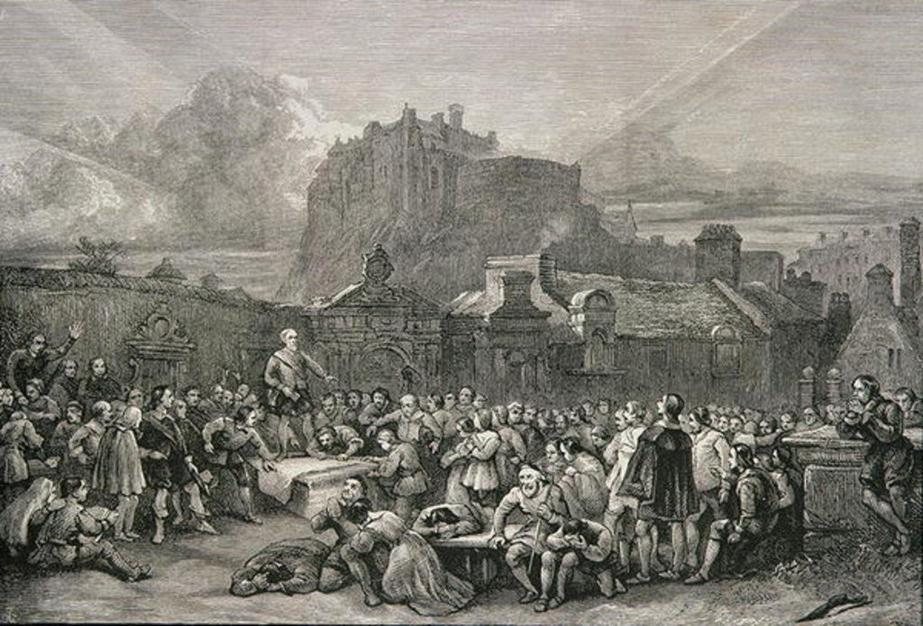 Detail of A Crowd Queues to Sign the National Covenant in front of Greyfriar's Churchyard, Edinburgh in 1638 by English School