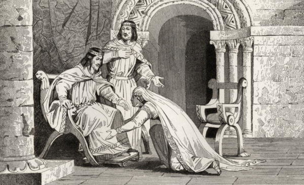 Detail of Emme kisses the knee of her husband Raoul (d.936) in recognition of his sovereignty by French School