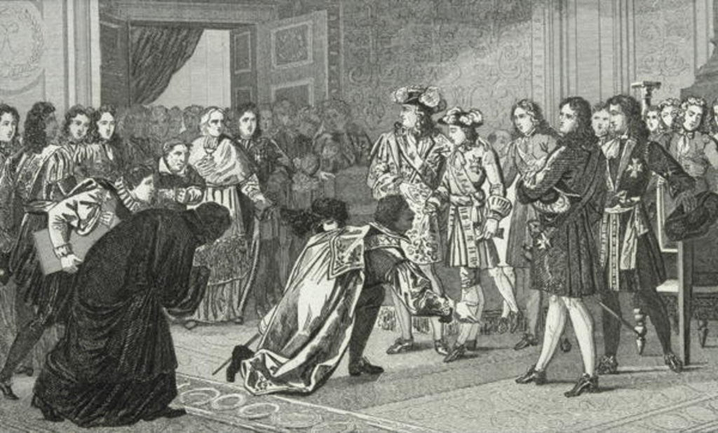 Detail of Louis XIV the Sun King presents his grandson Philippe V to the Spanish envoys by French School
