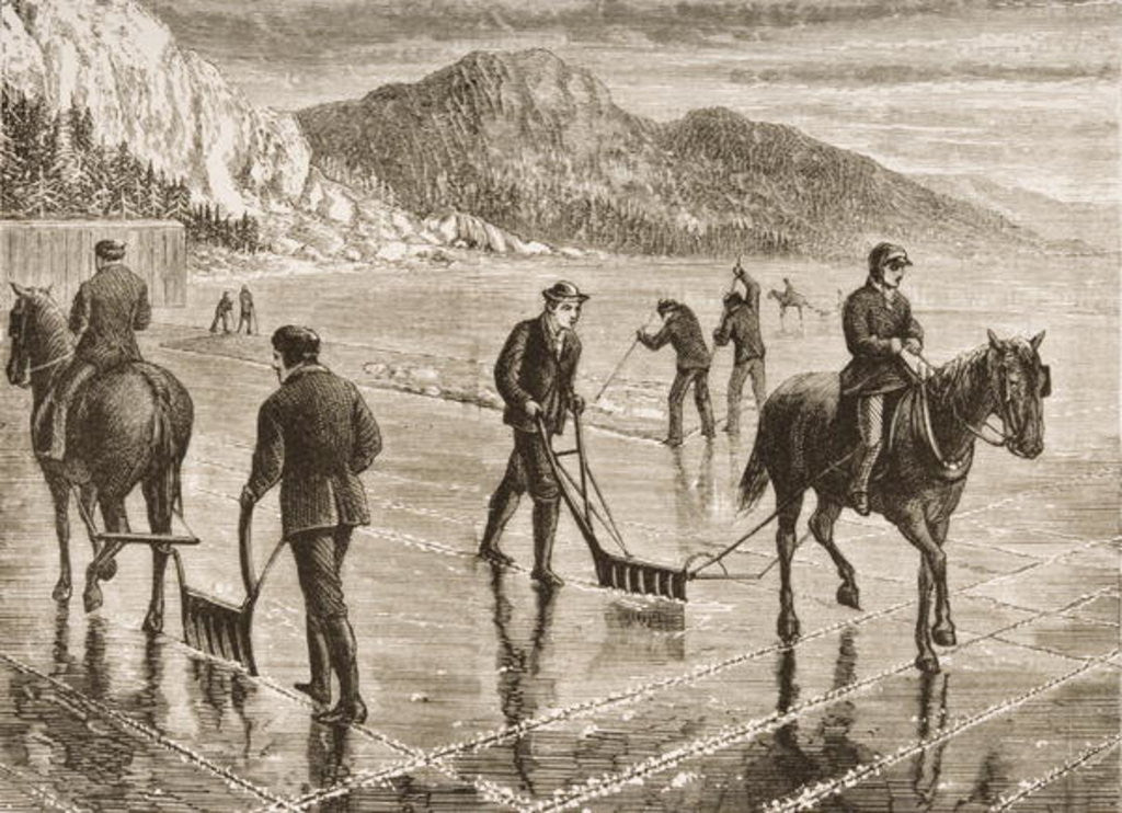 Detail of Ice-Harvest on the Hudson River, New York State by English School