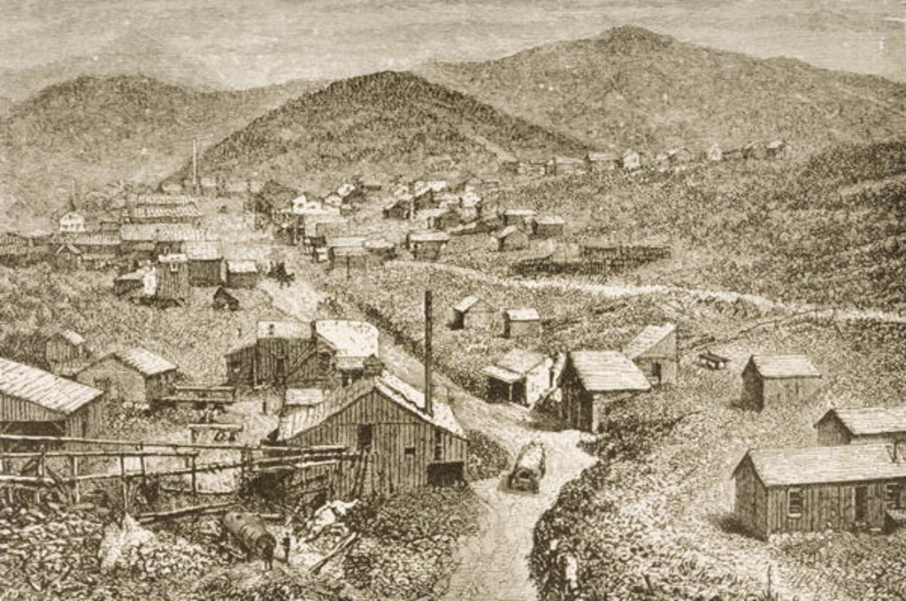 Detail of Silver City, Nevada, c.1870 by English School