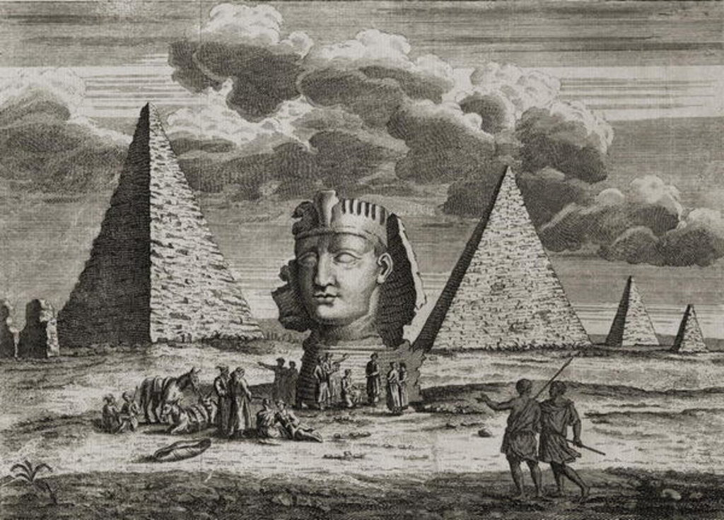 Detail of The Pyramids and Sphinx at Giza, Egypt by English School