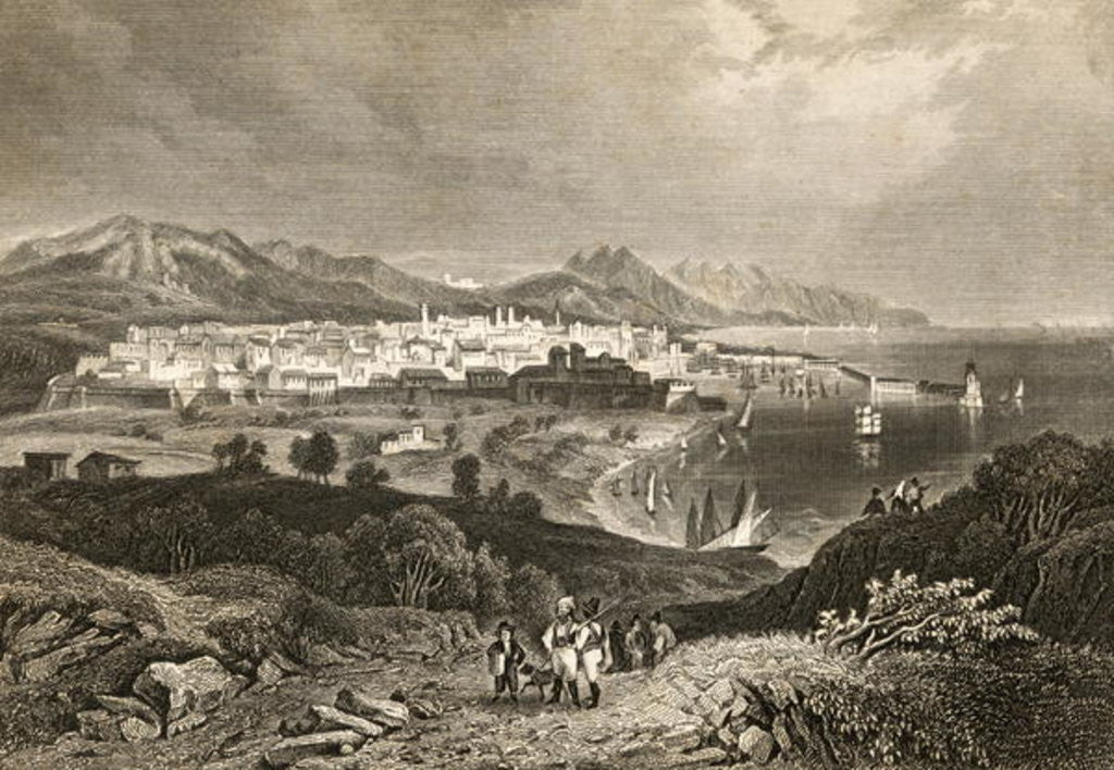 Detail of View of Barcelona, early 19th century by English School