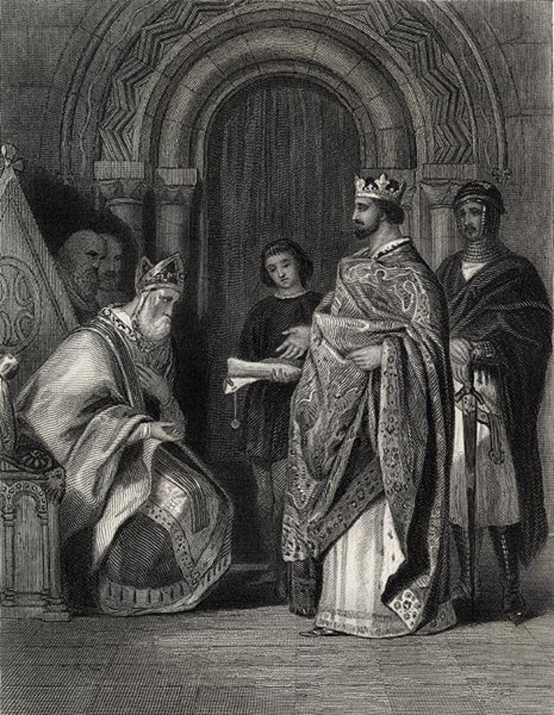 Detail of Henry II presenting the Pope's Bull to the Archbishop of Cashel, engraved by G. Greatbach by Henry Warren