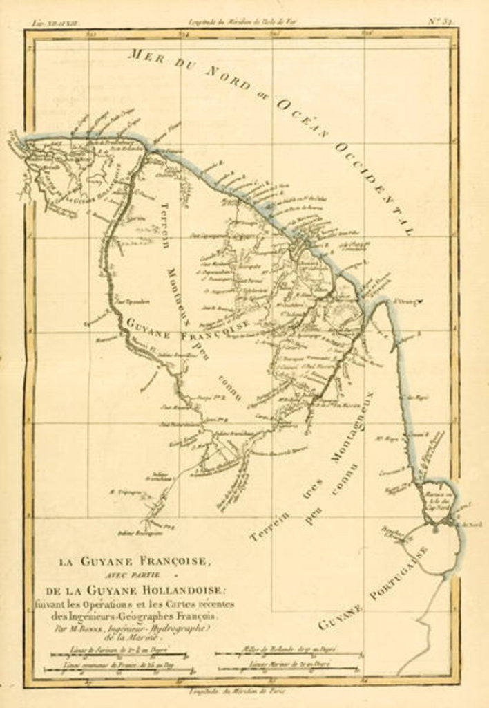 Detail of French Guyana, with part of Dutch Guyana by Charles Marie Rigobert Bonne