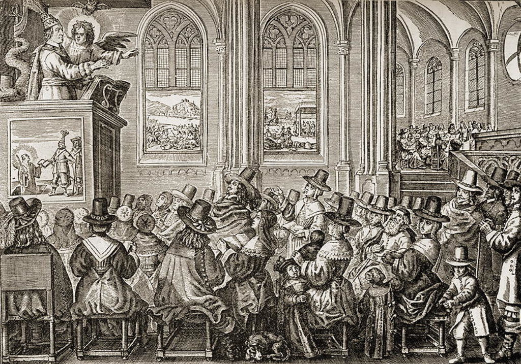 Detail of Oliver Cromwell preaching to a Puritan congregation by English School