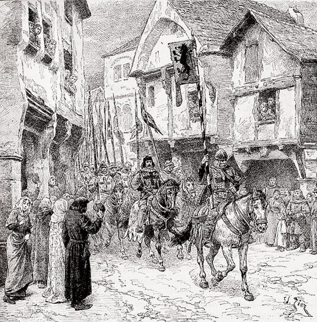 Detail of Crusaders on route for the Holy Land by English School