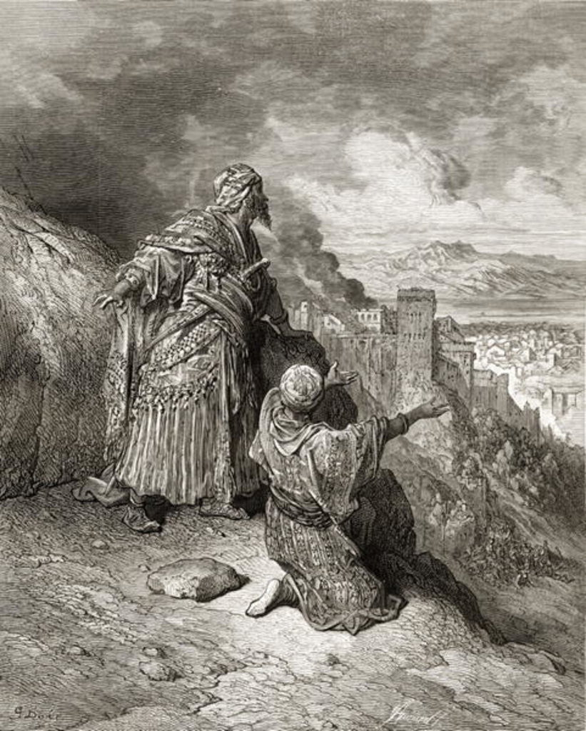 Detail of Boabdil (Muhammad XI) the last Arab King of Granada is exiled in 1542 by Gustave Dore