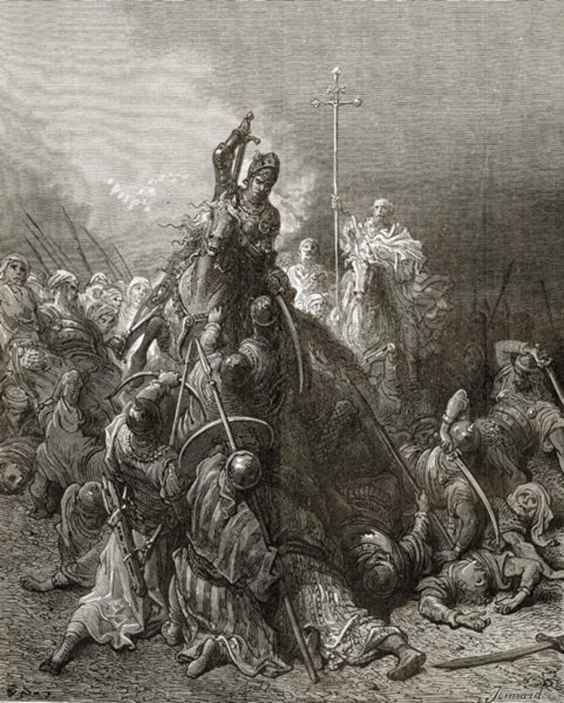 Detail of Christian Knights fight Saracens, illustration from 'Bibliotheque des Croisades' by J-F. Michaud by Gustave Dore