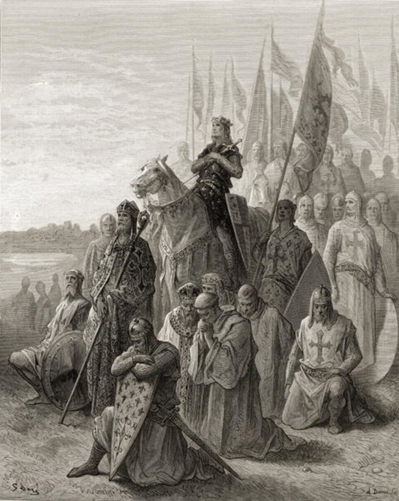 Detail of King Louis IX before Damietta, illustration from 'Bibliotheque des Croisades' by J-F. Michaud by Gustave Dore