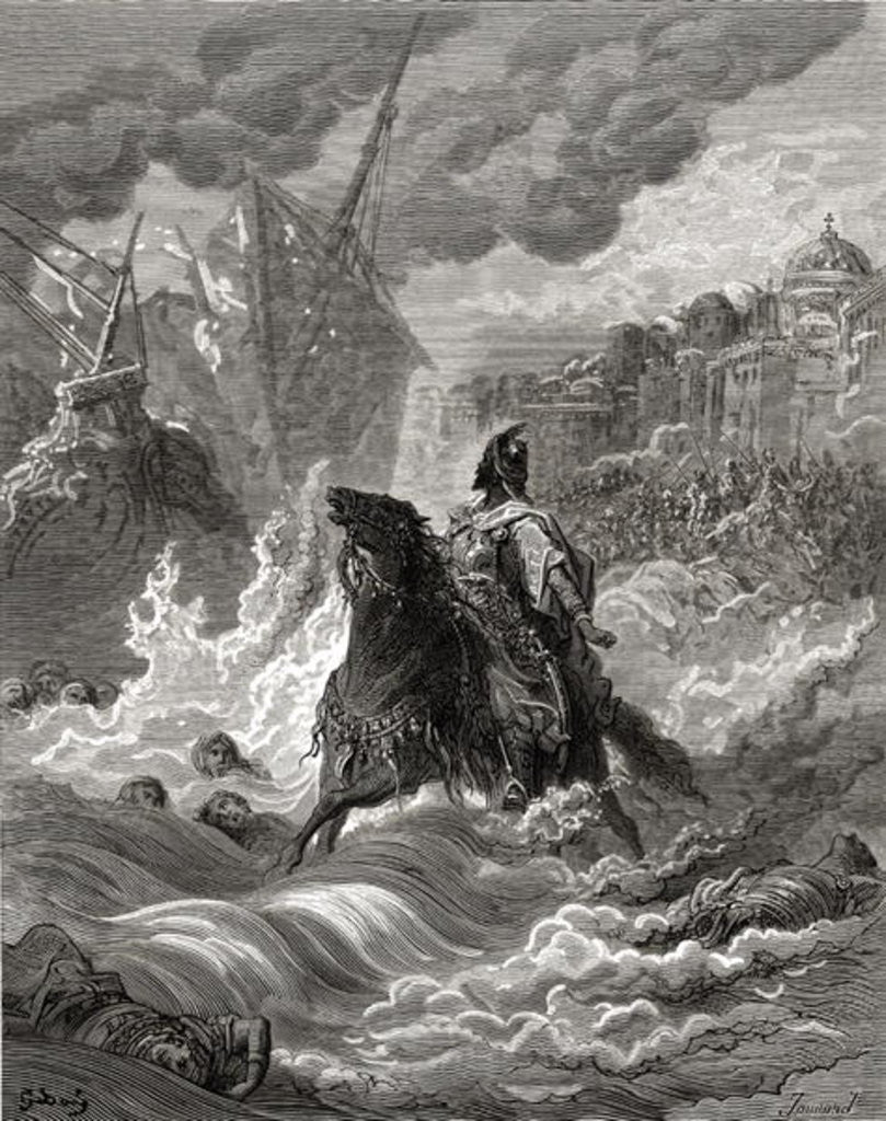 Detail of Mohammed II before Constantinople in 1453, illustration from 'Bibliotheque des Croisades' by J-F. Michaud by Gustave Dore