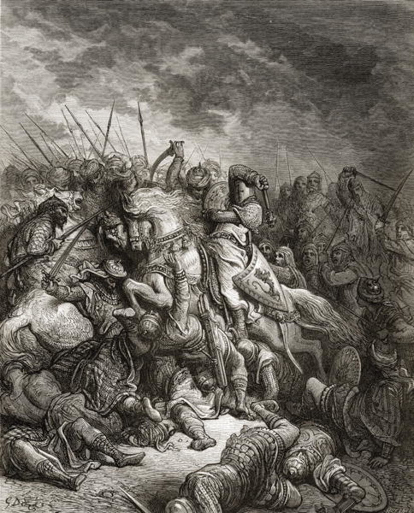 Detail of Richard I the Lionheart in battle at Arsuf in 1191 by Gustave Dore