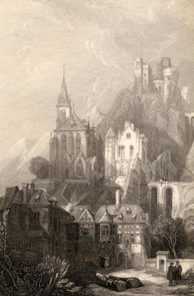 Detail of Trarbach, engraved by E.I. Roberts, illustration from 'The Pilgrims of the Rhine' published 1840 by David Roberts