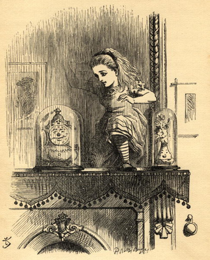 Detail of Alice in the Looking Glass House, illustration from 'Through the Looking Glass' by Lewis Carroll first published 1871 by John Tenniel